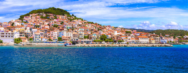 Travel in Lesvos island - view of beautiful Plomari town. Landmarks of eastern Greece