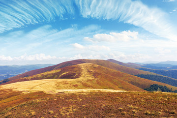 mountain range rolling far away in to the horizon. beautiful summer landscape. sunny weather with clouds on the sky. path through the ridge in to the distance. wonderful travel destination of ukraine