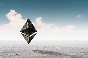 Ethereum symbol on sky background