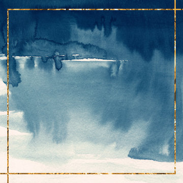 Navy blue watercolor background with gold frame Square Card template