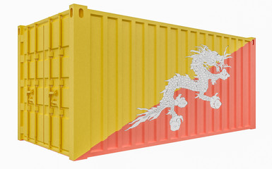 3D Illustration of Cargo Container with Bhutan Flag