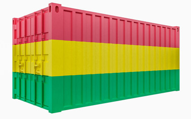 3D Illustration of Cargo Container with Bolivia Flag