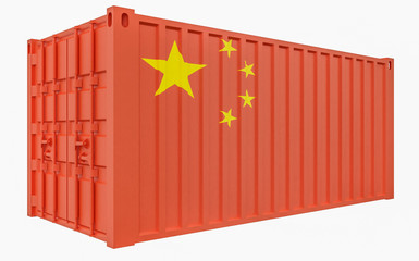 3D Illustration of Cargo Container with China Flag