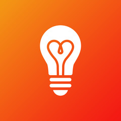Light bulb icon. Isolated electric lamp on gradient background. Heart filament. Love light. Vector illustration, flat design