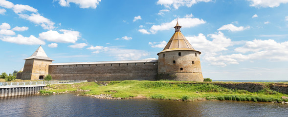 Shlisselburg, Russia - June 22, 2019: Historical fortress Oreshek is an ancient Russian fortress. Shlisselburg Fortress near the St. Petersburg, Russia. Founded in 1323 Wall mural