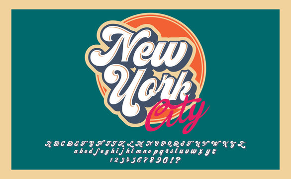 New York City. Retro 3d font in 80s style. Vintage typography. Summer font set.
