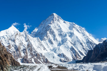 K2 mountain peak, second highest mountain in the world, K2 trek, Pakistan, Asia Wall mural