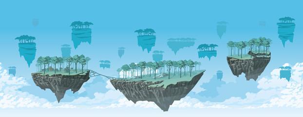 Obraz Fantasy background of a flying islands landscape. Horizontal tiles. - fototapety do salonu