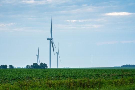 wind turbines Iowa sunrise sunset