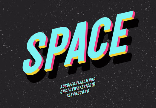 Space typeface 3d bold colorful style