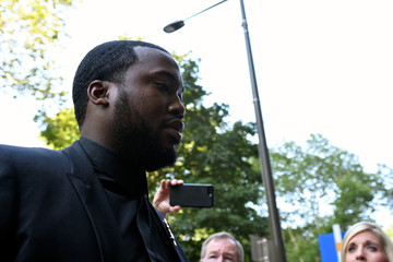 Rapper Meek Mill arrives for a hearing at court in Philadelphia