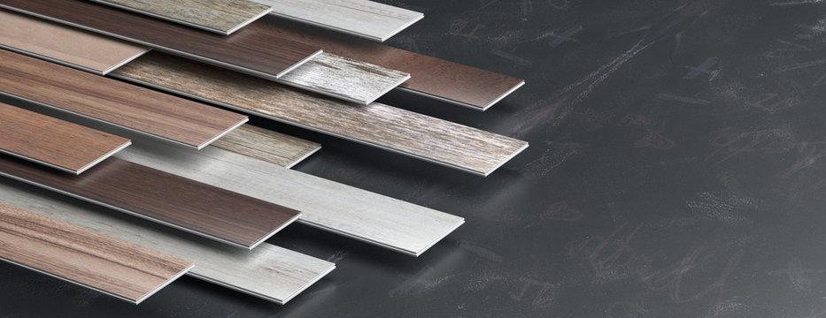 Laminate floor on blackboard background. 3d illustration