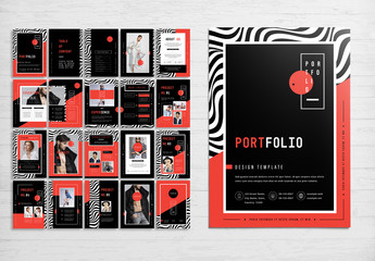 Portfolio Layout with Red and Black Accents