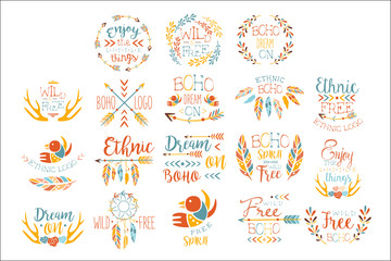 Autocollant pour porte Style Boho Boho Logo Hand Drawn Banner Set Of Artistic Decorative Vector Design Writing.