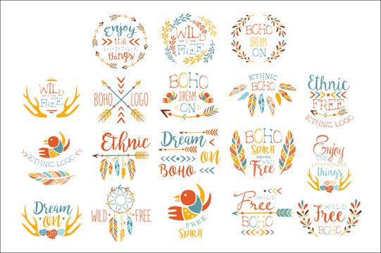 Boho Logo Hand Drawn Banner Set Of Artistic Decorative Vector Design Writing.