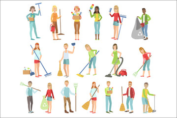 Adult People Cleaning Up Indoors Set Of Simple Cartoon Flat Vector Colorful Characters On White Background.