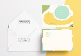Card Front and Back with Envelope Mockup
