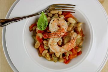 White Beans with Shrimp, Garlic & Sage