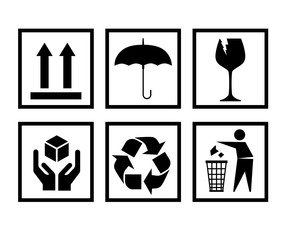 Handling packing icon set-fragile, recycle signs etc. - can be used on the box or packaging
