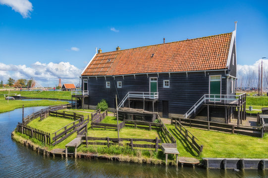 Old wooden fisherman's house in Enkhuizen in the Netherlands..