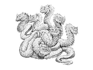 Lernaean Hydra - mythological creature. Multi headed dragon drawing. Fearsome monster.