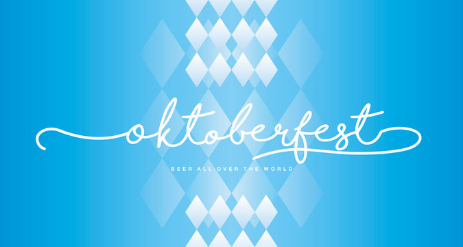 Oktoberfest handwritten lettering Bavarian blue white background banner