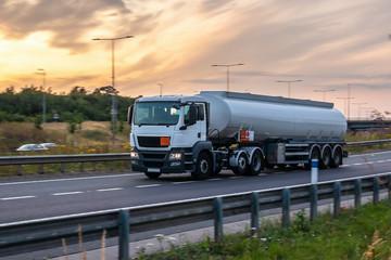 Tanker truck in motion on the motorway