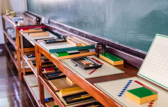 Montessori material for training the development of children in Preschool Classroom
