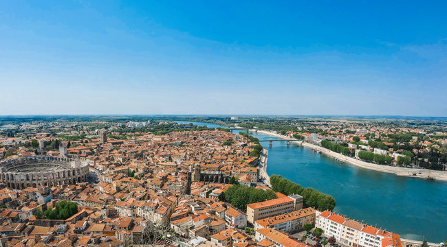 Panorama of ancient town Arles in Provence and Cote d'Azur, France, South Europe. Famous tourist destination with old Roman Artena