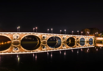 Fotobehang Oude gebouw French ancient town Toulouse and Garonne river panoramic night view. Toulouse is the capital of Haute Garonne department and Occitanie region, France, South Europe. Famous tourist destionation.