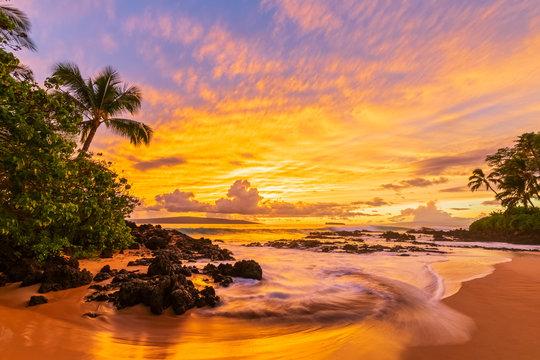 Secret Beach at sunset, Maui, Hawaii, USA