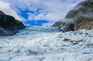 The huge icefield of the Fox Glacier, South Island, New Zealand