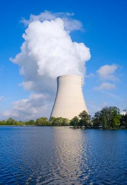 Isar Nuclear Power Plant, Niederaichbach reservoir, near Landshut, Bavaria, Germany