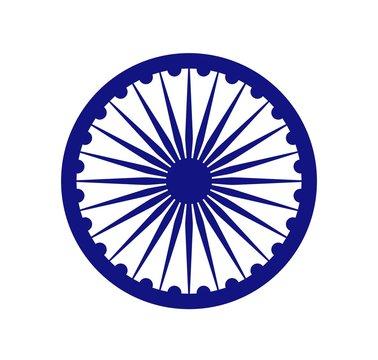 ashoka chakra icon. vector isolated sign, national symbol of India