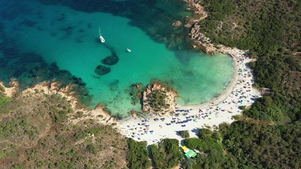Wall Mural - View from above, stunning aerial view of a beautiful beach bathed by a turquoise clear sea. Spiaggia del Principe, Costa Smeralda (Emerald Coast) Sardinia, Italy.