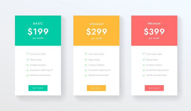 Price list vector tempate for web or app. Ui ux design tables with tariffs, subscription and business plans.
