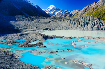 Turquoise glacier lake before Mount Cook, South Island, New Zealand