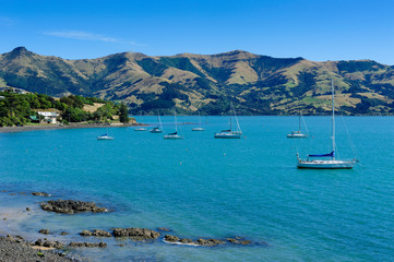 Sailboats in the Akaroa harbour, Banks Peninsula, South Island, New Zealand