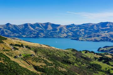 Beautiful scenery around Akaroa harbour, Banks Peninsula, South Island, New Zealand