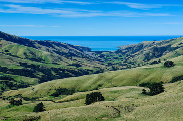 Beautiful scenery in the Banks Peninsula, South Island, New Zealand