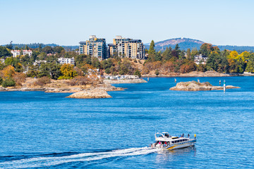 Tour boat yacht with people/passengers sailing the waterfront harbour along the deep blue sea coastline in downtown Victoria, Canada with landscape and buildings in background on sunny autumn day.