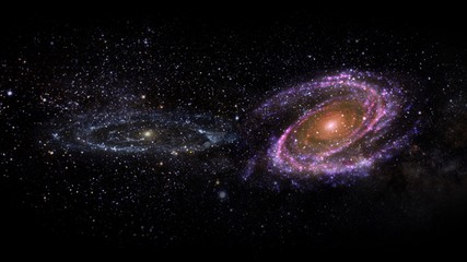 Planets and galaxy, science fiction wallpaper. Beauty of deep space. Billions of galaxy in the...