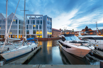 Fototapeten Schiff Marina of Gdansk with luxury yachts at dusk, Poland.