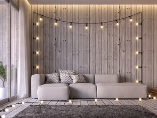 Cottage style living room 3d render, floor and wall are old wood, decorated with beige fabric sofa Decorated with string lights on the wall seem prepared for a party.
