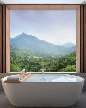 Modern contemporary bathroom with nature view 3d render,There are concrete tile floor decorate wall with wood lattice, There are large open window overlooking to see mountain view.