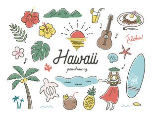 ハワイ南国ペン画カラー