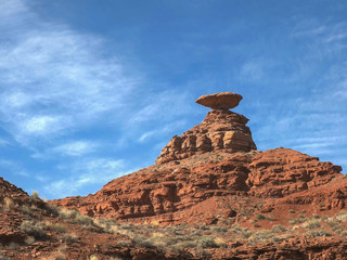 morning shot of mexican hat in utah, usa
