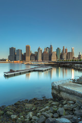 Financial district from the docks at east river with long exposure