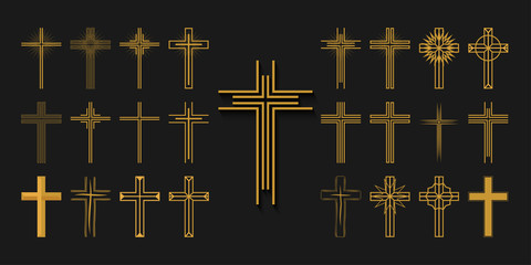 Icons set. Crosses of christian religion. Jesus Christ and God, faith sign. Church and pray, religion and resurrection. Vector