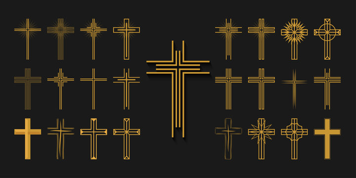 Icons set. Cross of christian religion. Jesus Christ and God, faith sign. Church and pray, religion and resurrection. Vector